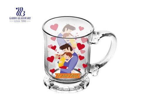 Tazas de café de vidrio de 450 ml con decoración para Feliz Navidad