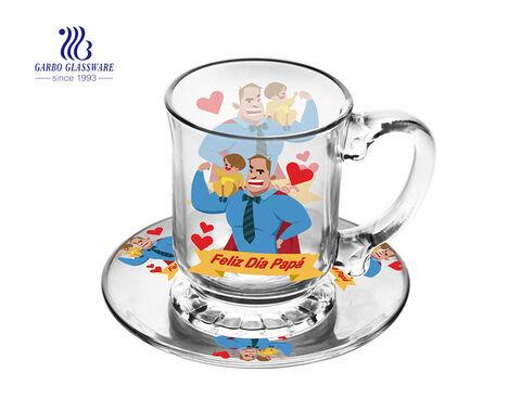 قدح قهوة زجاجي ترويجي مع مجموعات الصحن لهدايا عيد ميلاد سعيد