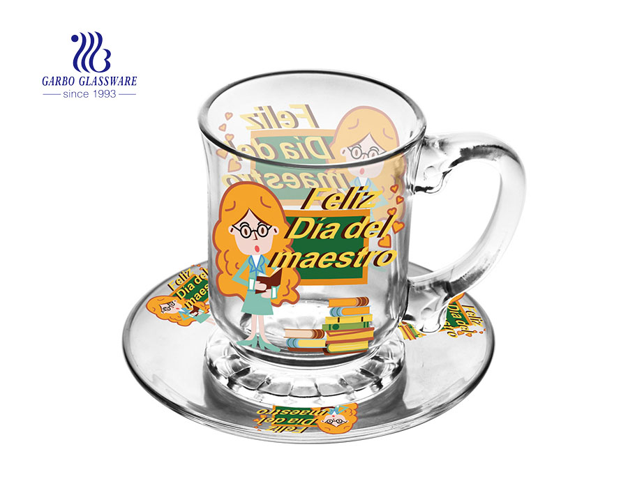 Promotional coffee glass mug with saucer sets for Merry Christmas Gift