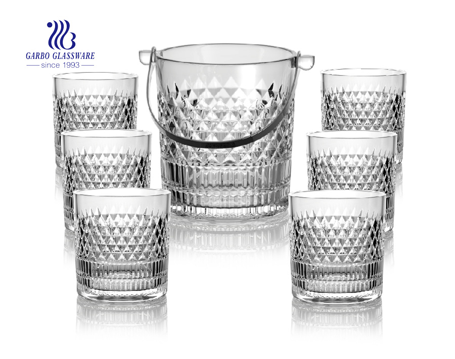 Wholesale Diwali promotion high white glass ice buket set