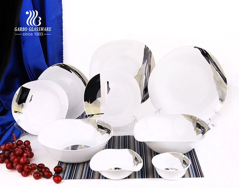 China factory price OEM decal square 26pcs tempered opal glass dinnerware set