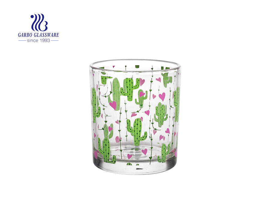 Cactus plant design Clear Transparent Glass candle holder