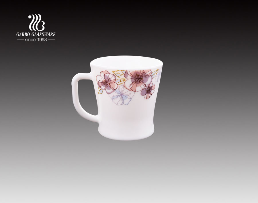 190ml Opal glass tea mug with customized decal heat resistant coffee cup with hadle