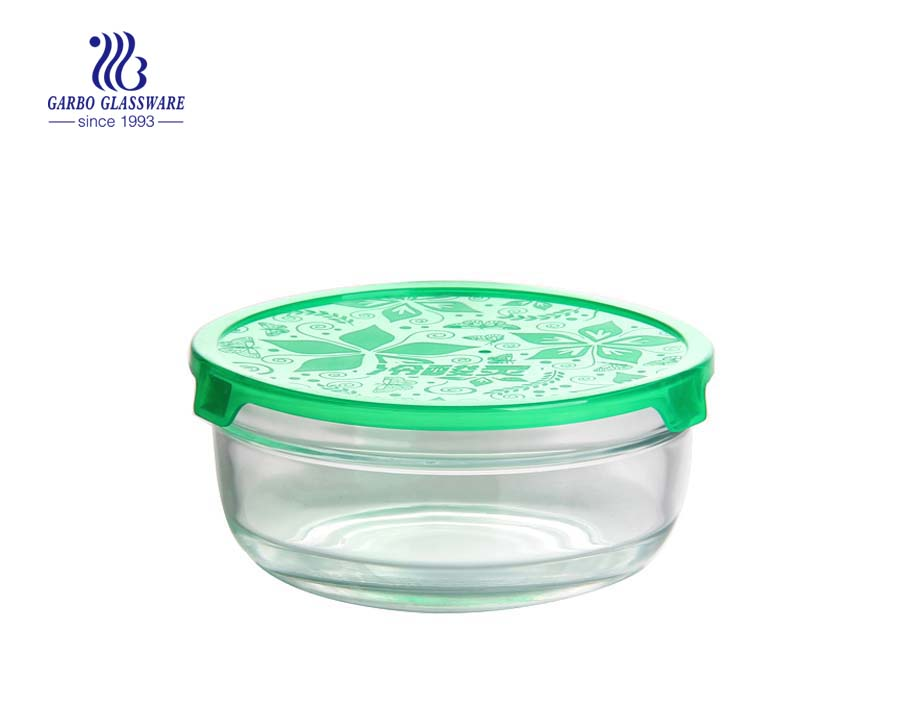 6 inch soda-lime economical glass food container storage bowl with plastic lid