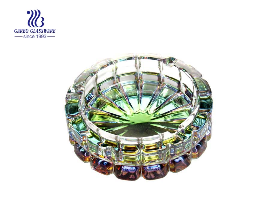 Round glass ashtray printing with leaves pattern for decoration