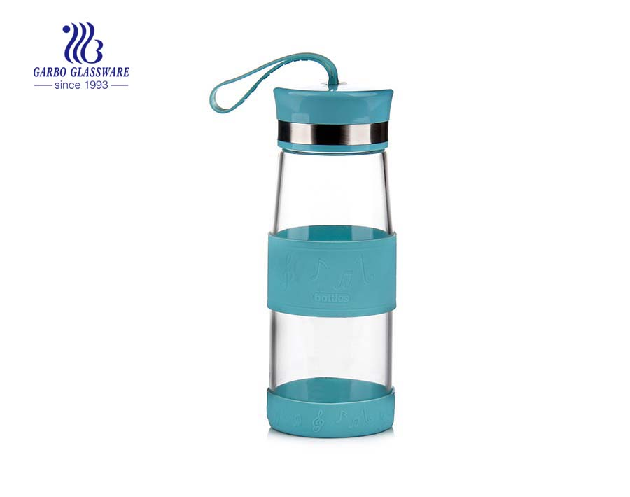 280ml Green Lovely Pyrex Glass Water Bottle With Protective Sleeve