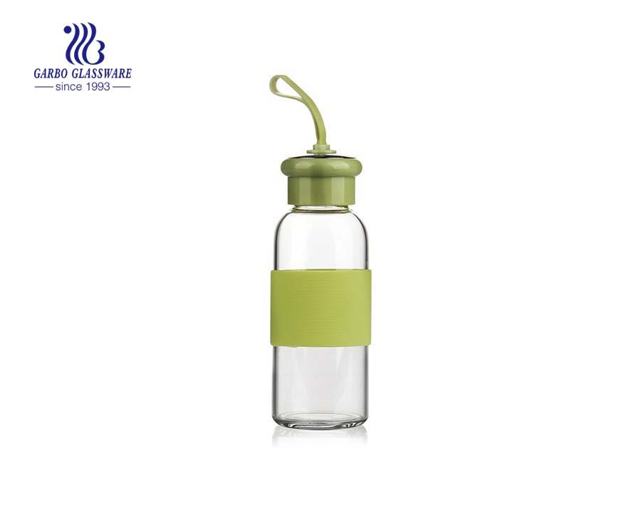 400ml Elegant Design Borosilicate Glass Water Bottle With Neoprene Sleeve For Protection