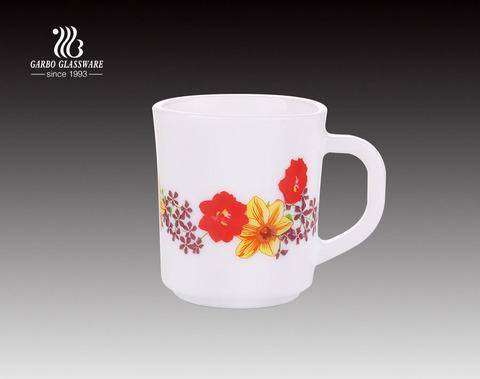 240ml Opal glass tea mug with flower decals