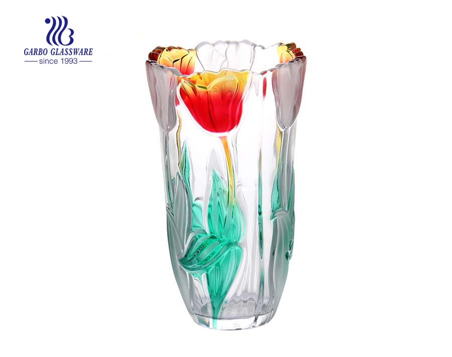 Large Spray Color Frosted Tulip Flower Design Glass Vase