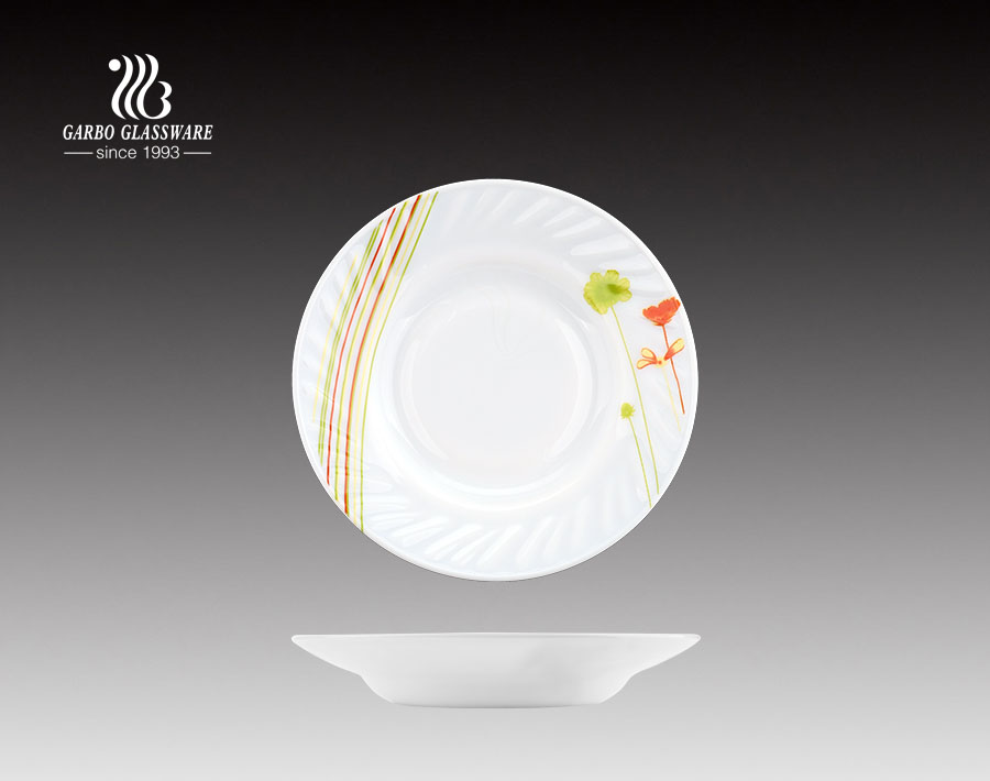 Customized Decal Print Decorative White Opal Glass Plate