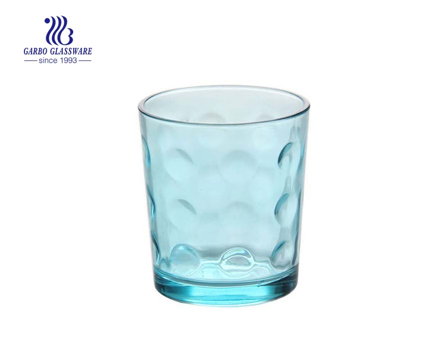 9oz dot design colored water glass tumbler