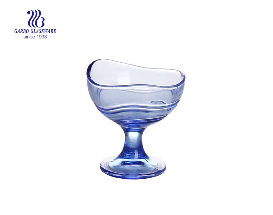 Bule color printing glass ice cream bowl for wholesales