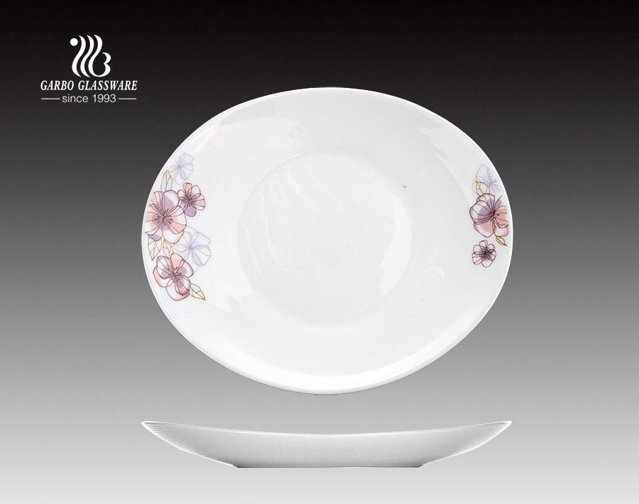 8.5inch OEM personalizado decalque impressão opala placa de vidro para restaurantes
