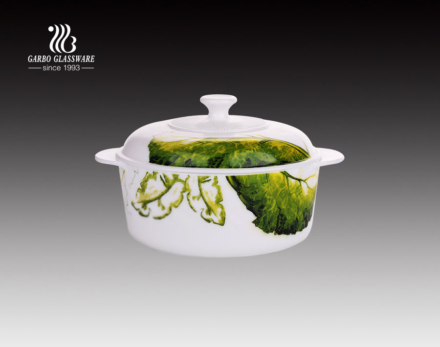 Rectangle shape custom printing decal opal glass heat resistant tempered soup pot with lid