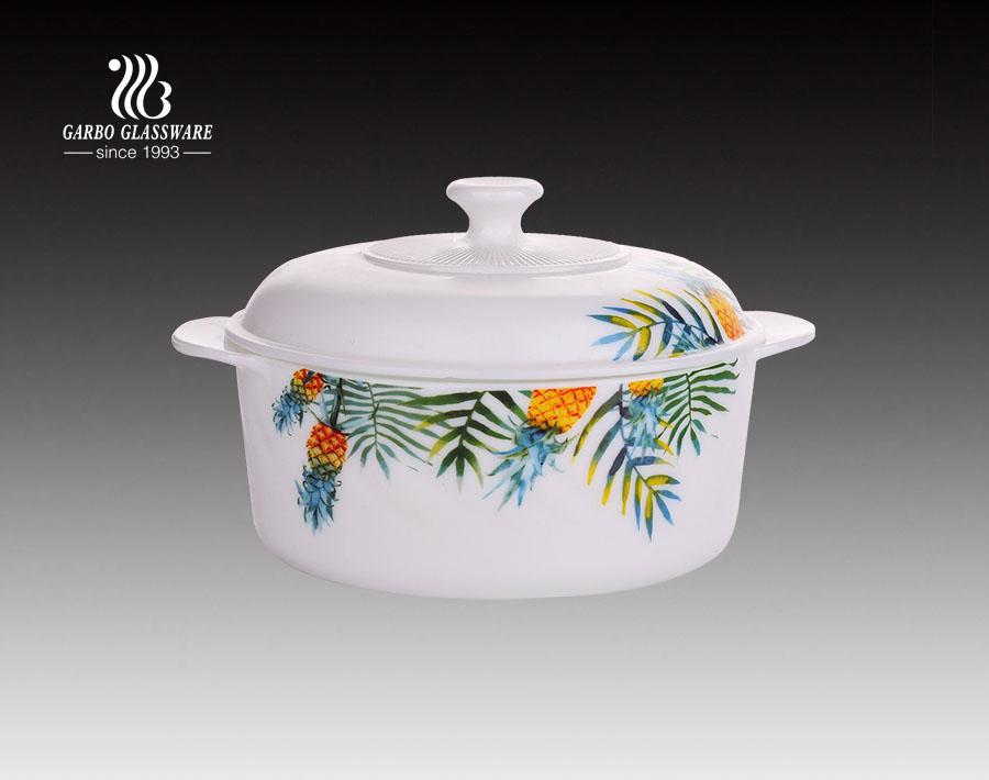 China Opalglaswaren direkte Fabrik runde Form Opalglas Suppentopf mit kundenspezifischem Design