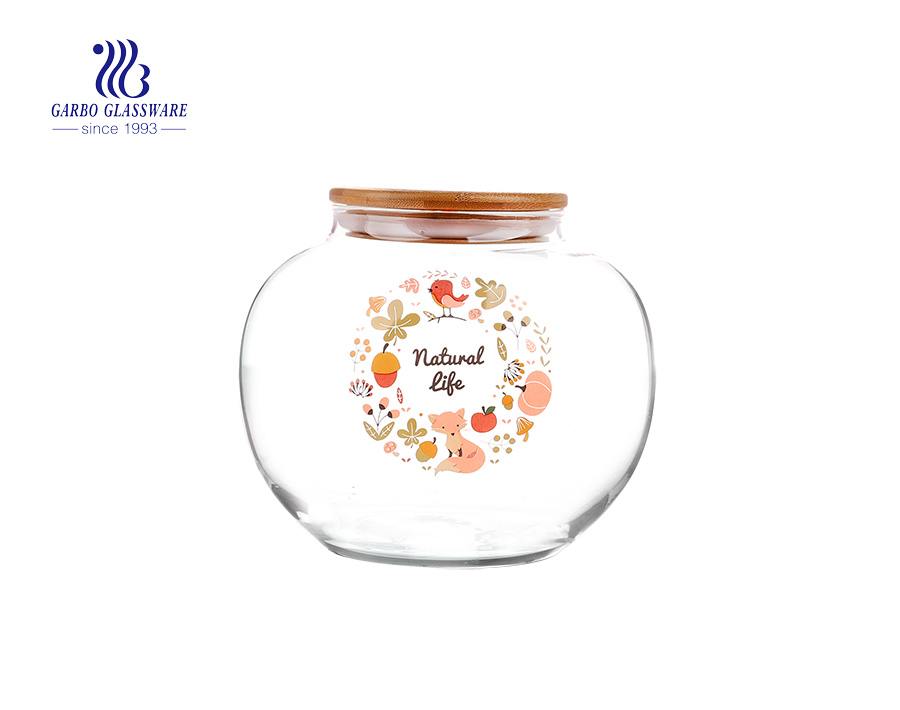 1300ml clear Canister set glass food storage with decals and airtight bamboo lid Made in China