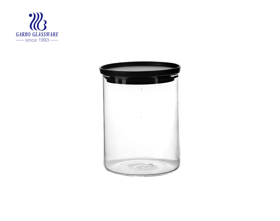 Borosilicate Cylinder glass food storage canisters with cooper lid  1150ml