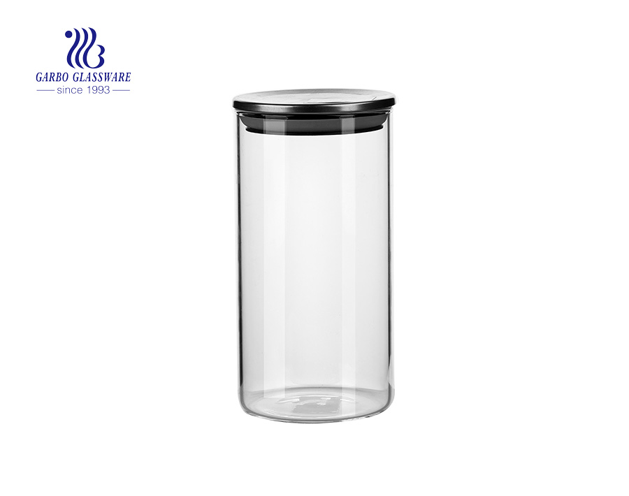 Bộ lon 3 mảnh với con dấu silicon Borosilicate thủy tinh Chum con dấu chân không cho trà cà phê đường Pop Flour Hộp đựng bột cho nhà bếp
