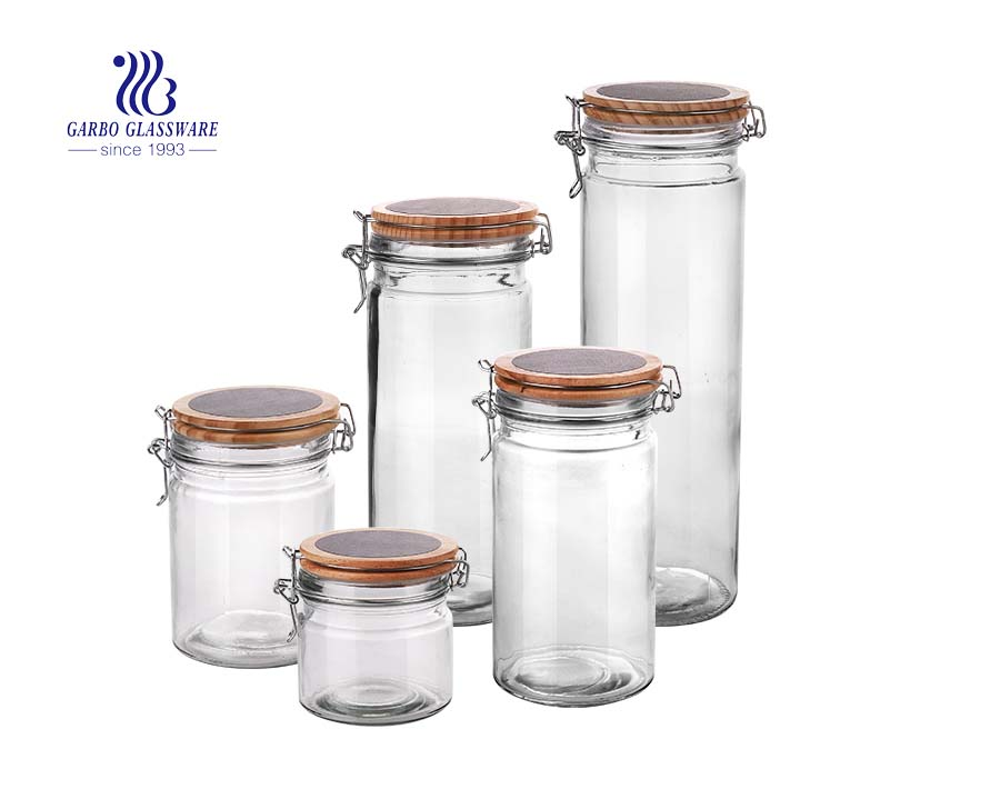 Set of 4 Stackable Airtight Glass Storage Canisters with decals, Lead Free Borosilicate Glass, with Stainless Steel Lid, for Tea Leaves, Nuts, Seasoning and Coffee Beans Storage