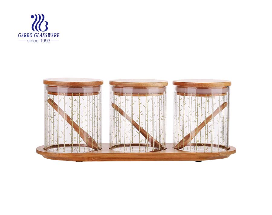 3 Piece Bamboo Airtight Glass Jar Organizer Set with wooden tray for Kitchen, Bathroom, Food Storage - BPA Free Eco-Friendly