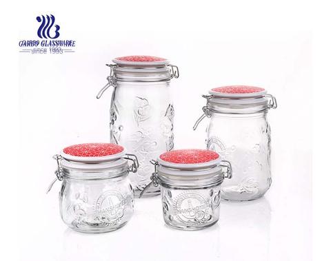 Set mit 4 luftdichten Küchenbehältern und Einmachgläsern aus klarem Glas mit Bail Trigger Hermetic Seal Clamp Deckel (roter Deckel)