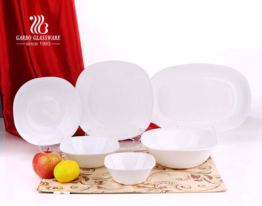heat resistant opal glassware bowl plate mug set 20pcs opal glass tableware dinner set