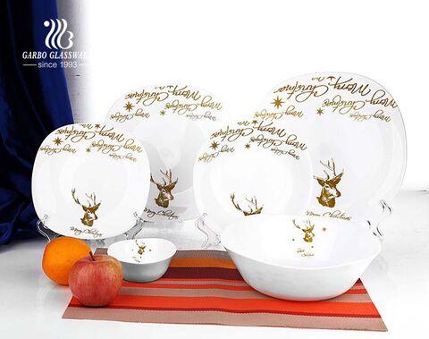 hitzebeständiges Opalglas Geschirr Tellerbecher Set 20 Stück Opalglas Geschirr Geschirrset