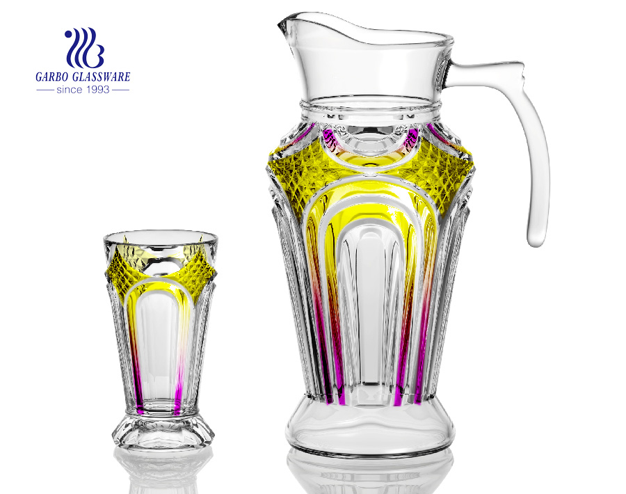 Garbo new design colorful 7 pcs glass jug and cup set, family use glass drinking set