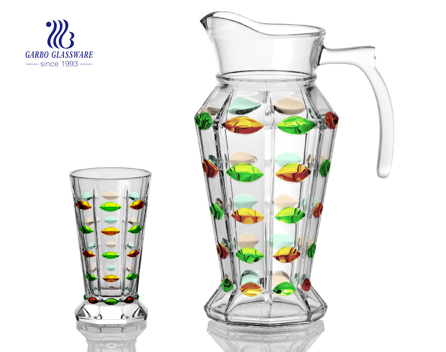 Wholesale 7pcs 1.3L glass pitcher glassware set drinking glass set, high quality juice jug with plastic lid promotion glass water drink set