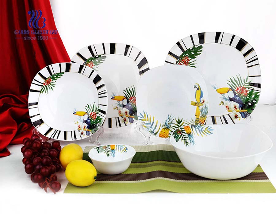 Set 18 opal glass dinnerware tempered glass plate and bowl with special decal