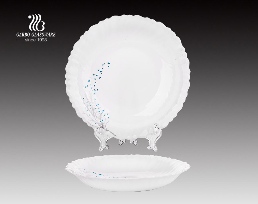 Food safe 8.5inch round opal glass dinner plate with decal flower