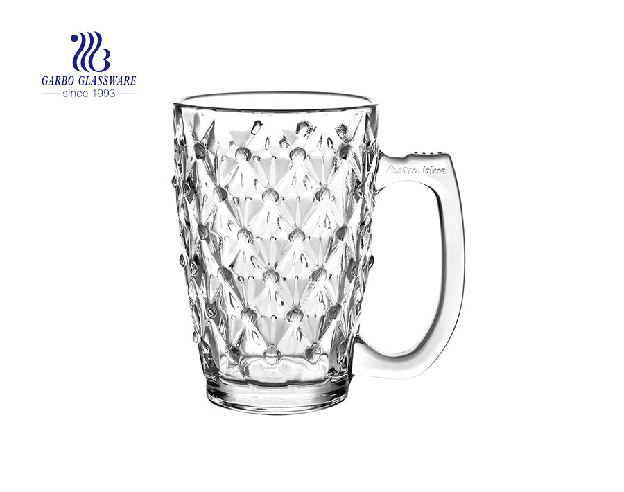 340ml diamond glass mug with glass handle