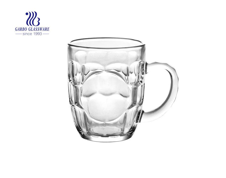 340ml diamond glass mug with glass handle