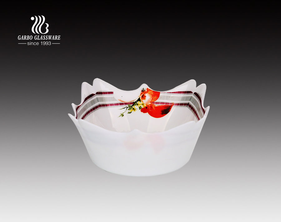 Tempered  10 inch Irregular shaped  Opal Glass Dinner Dessert Plate