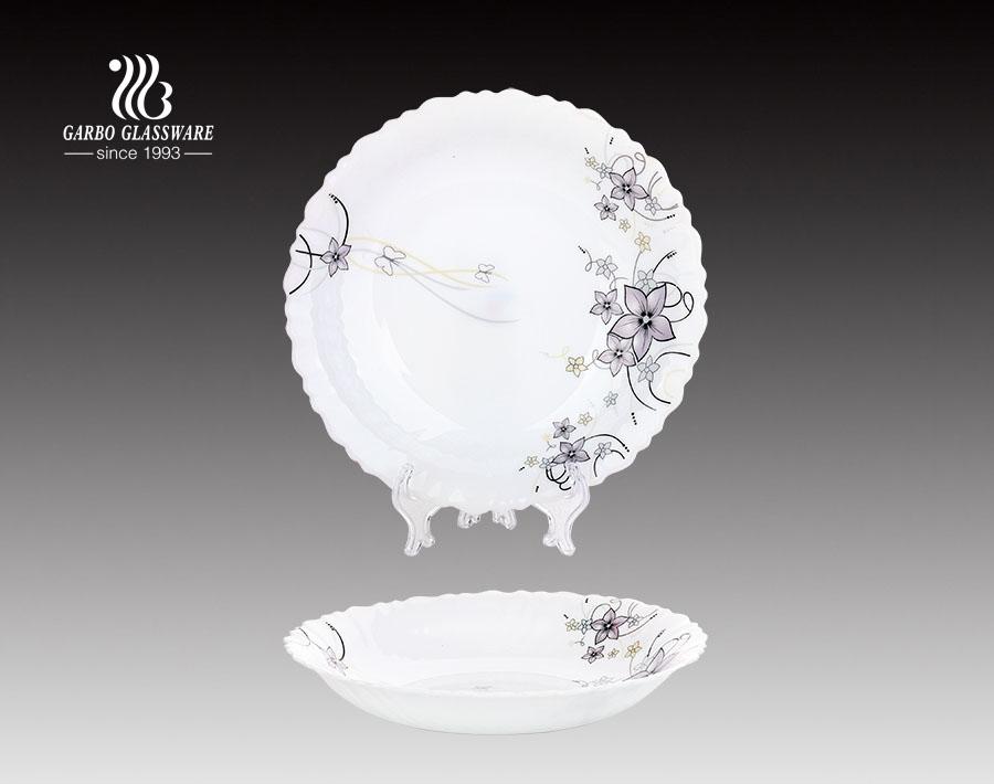 8.5-Zoll-Glas Abendessen Opal Glasplatte Geschirr mit chinesischen Lieferanten