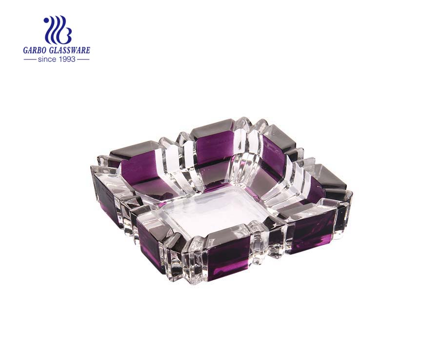 Custom design spray color square shape glass ashtray in glass