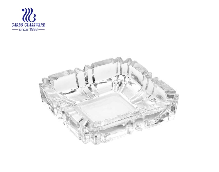 Custom design spray color square shape glass ashtray in glass