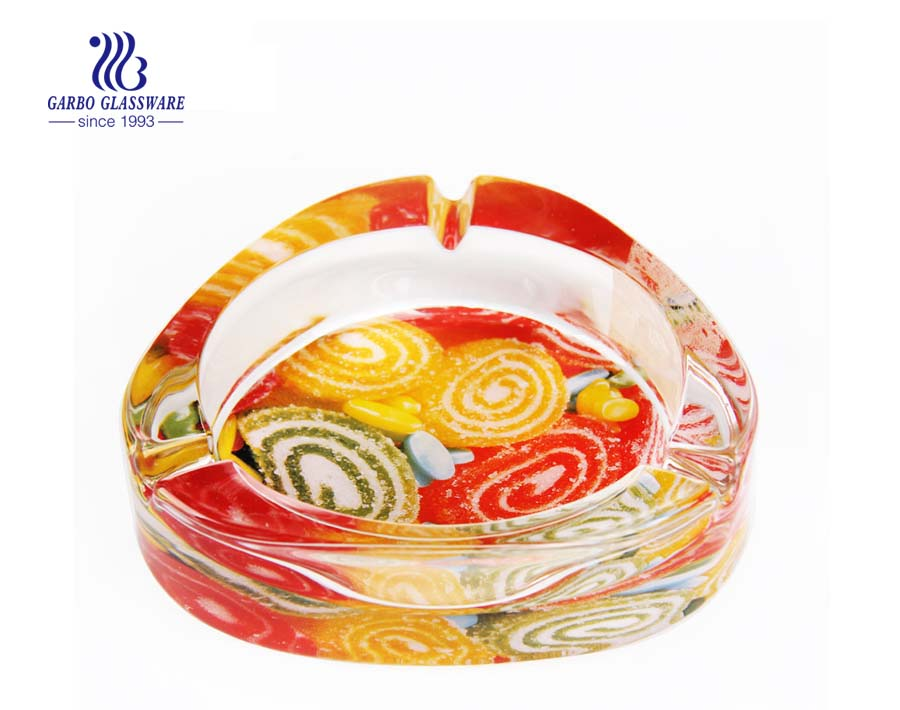 Printing design colored glass smoking ashtray for bar decoration