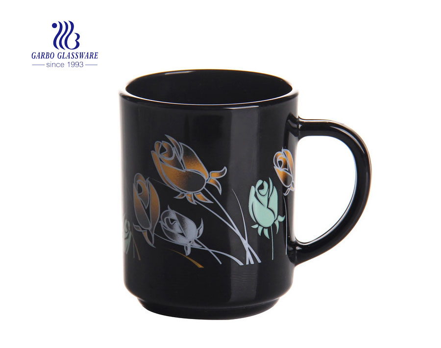 8oz black opal glassware tea drinking glass mug