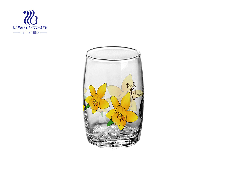 9oz flower printing blowing glass cup
