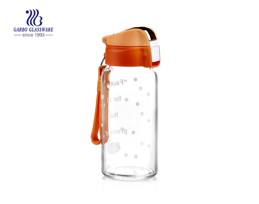 350ml Orange Hot Water Glass Bottle With Lid