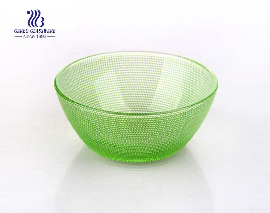 6.5inch Food grade spray color blue color V-shape glass bowl