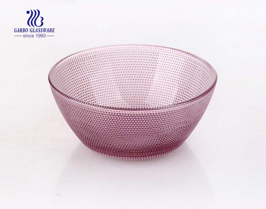 6.5inch Food grade spray color blue color V-shape glass bowl