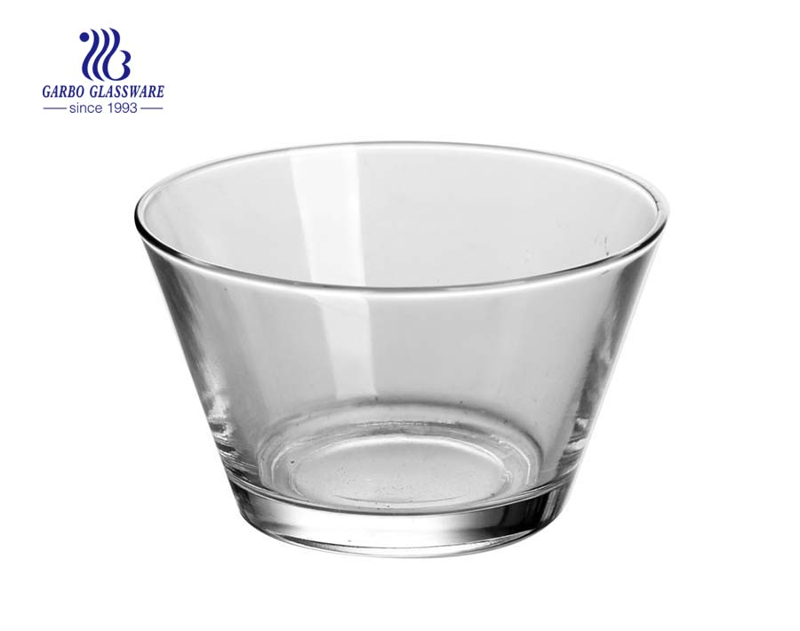 5.5inch Food grade V-shape customize decals logo glass bowl