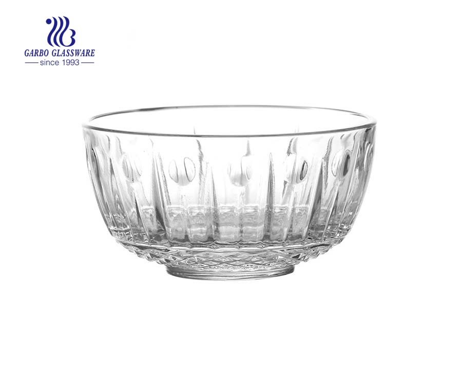 Chinese manufacture engraved 4.5inch glass bowl food grade