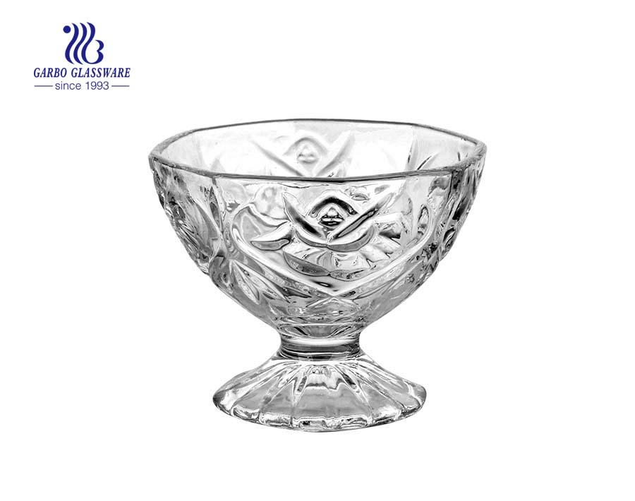 New arrival charming engraved glass sundae bowl for dessert