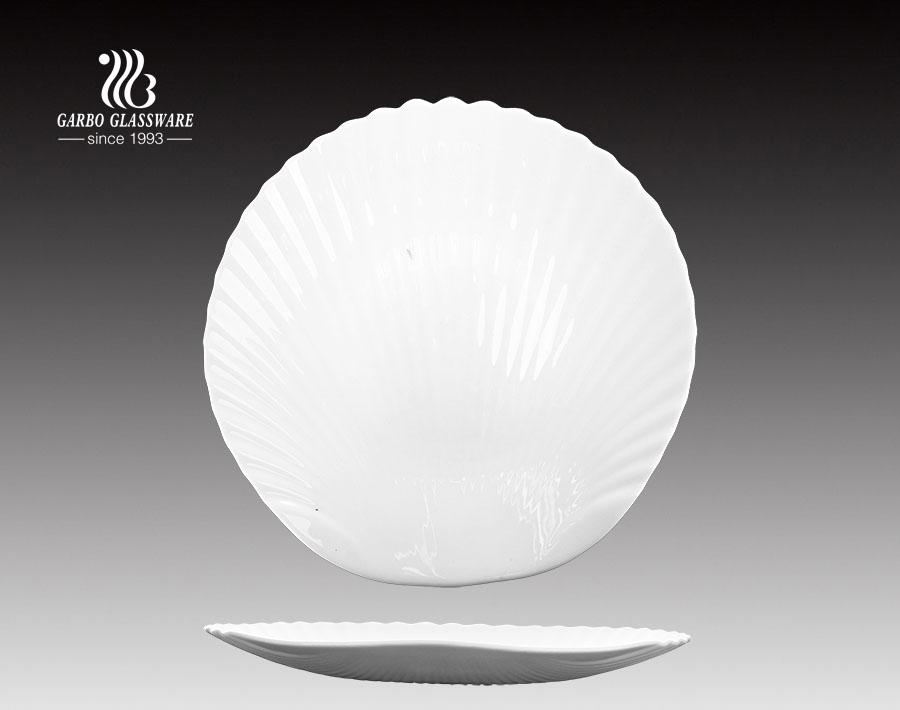 10inch OEM Fancy design seashell white opal glass dinner plates