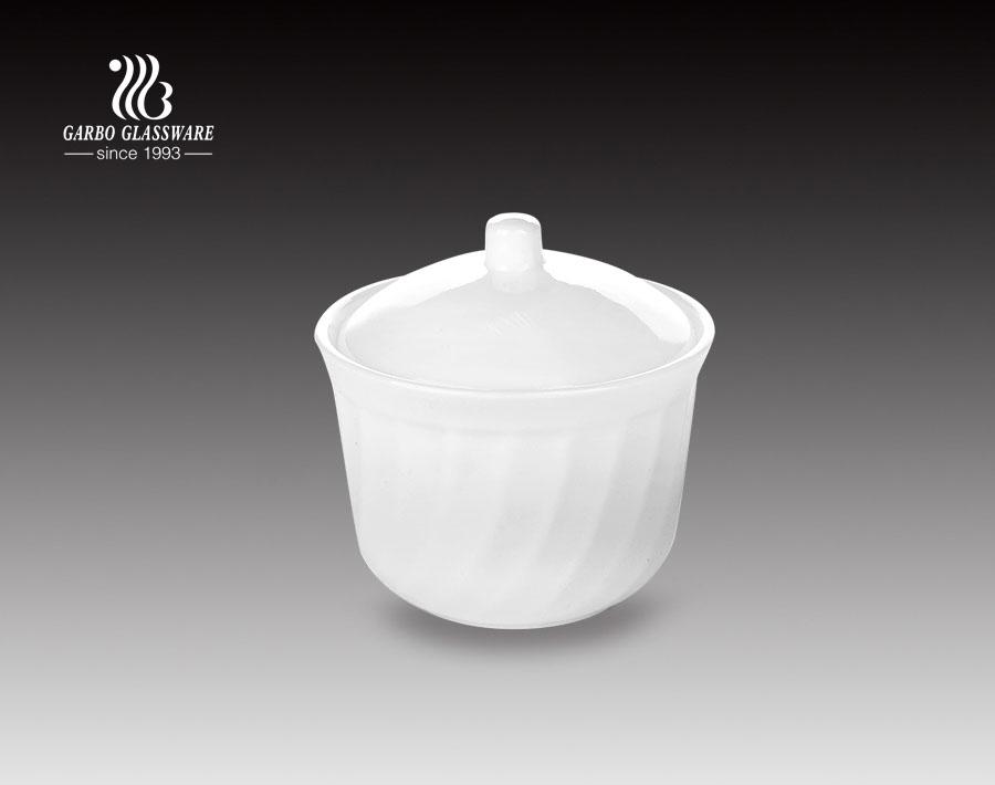 Olla de sopa de vidrio de ópalo blanco de 210 ml con tapa para cocina