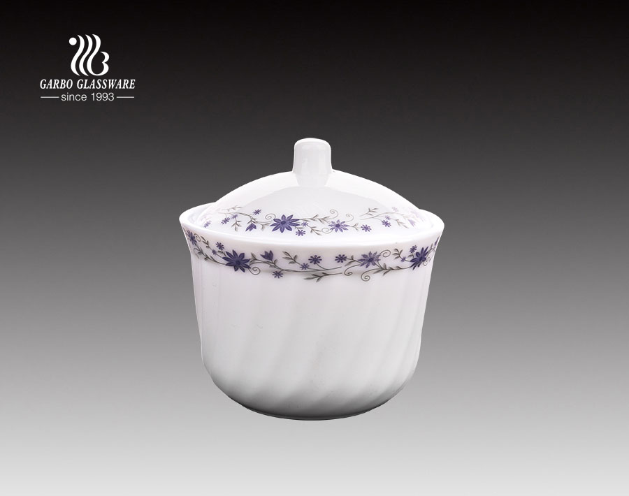 210ml white opal glass soup pot with lid for kitchen