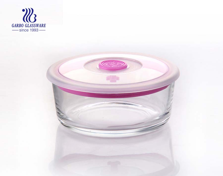 6 inch Heat, Cold, and Shock Resistant Borosilicate Glass, Dishwasher and Microwave Safe Food Container with lid with hole